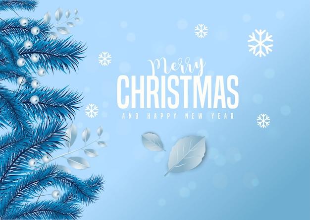 Feliz natal e feliz ano novo cartão decorado com folhas de pinheiro e bagas.