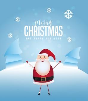 Feliz natal e feliz ano novo cartão design com papai noel, levantando as mãos e a árvore de cobertura de neve