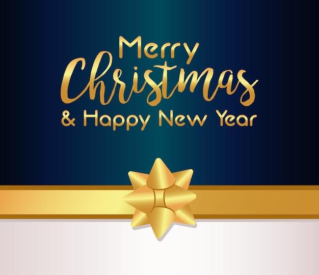 Feliz natal e feliz ano novo cartão dourado com ilustração de fita de arco
