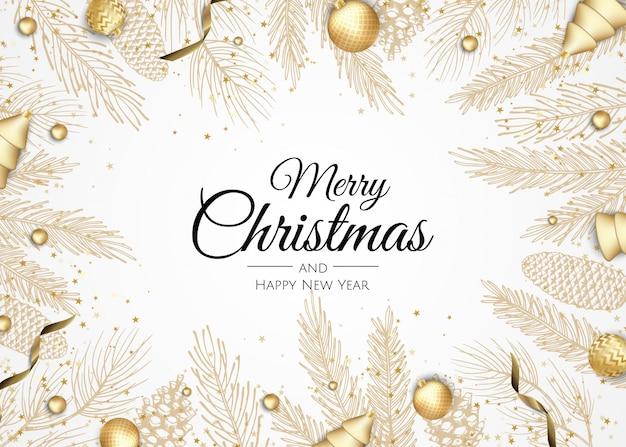 Feliz natal e feliz ano novo cartão dourado ramos