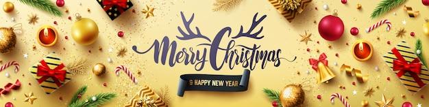 Feliz natal e feliz ano novo cartão dourado
