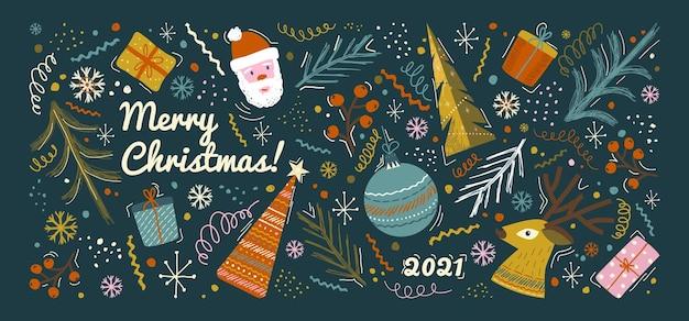 Feliz natal e feliz ano novo cartão e modelo de plano de fundo. ilustração vetorial de férias de inverno em estilo vintage. árvore de natal e brinquedos, papai noel. cartaz desenhado da mão de 2021 ano novo.