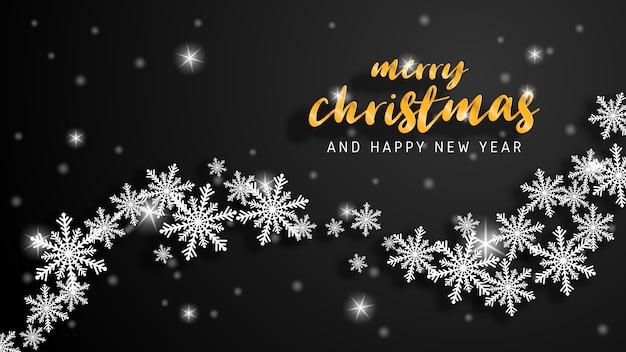 Feliz natal e feliz ano novo cartão em papel cortado estilo.