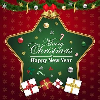 Feliz natal e feliz ano novo cartão estrela