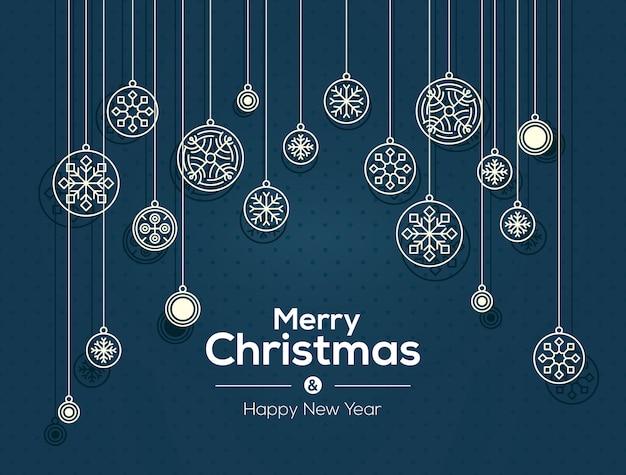 Feliz natal e feliz ano novo cartão. fundo de decoração de flocos de neve