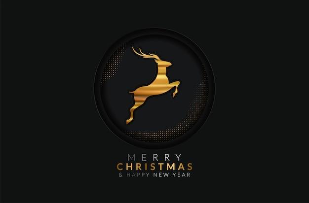 Feliz natal e feliz ano novo cartão. ornamento de decoração dourada