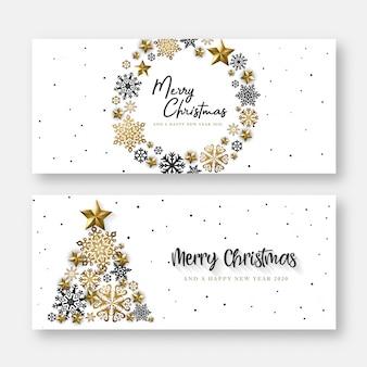 Feliz natal e feliz ano novo cartão ou banner