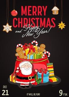 Feliz natal e feliz ano novo cartão ou convite para festa