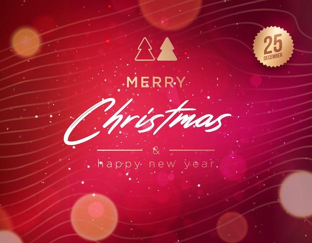 Feliz natal e feliz ano novo cartão ou modelo de convite da rotulação