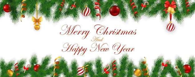 Feliz natal e feliz ano novo cartão panorâmico