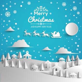 Feliz natal e feliz ano novo cartão papel estilo