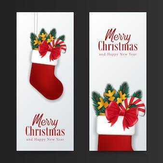 Feliz natal e feliz ano novo cartão. pendurar meia vermelha com pirulito, fita, abeto deixa o conceito de ilustração para presente presente evento de natal