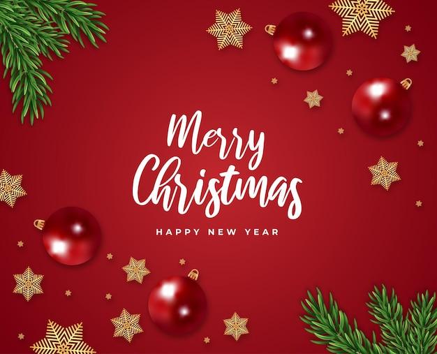 Feliz natal e feliz ano novo cartão-presente galho de árvore vermelha e vetor de flocos de neve bola