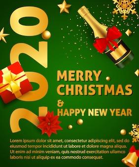 Feliz natal e feliz ano novo cartaz de festa