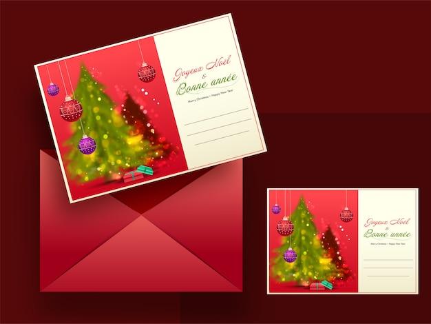 Feliz natal e feliz ano novo cartões na língua francesa com envelope vermelho.