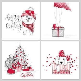 Feliz natal e feliz ano novo cartões
