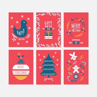 Feliz natal e feliz ano novo celebração cartões