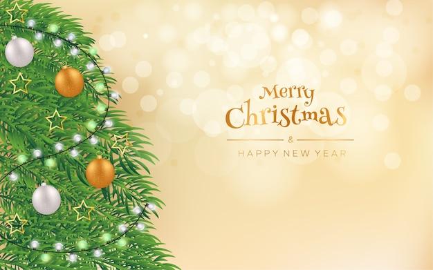Feliz natal e feliz ano novo com árvore de natal