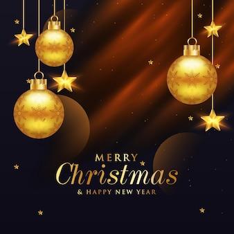 Feliz natal e feliz ano novo com banner de postagem da web em mídia social dourada realista