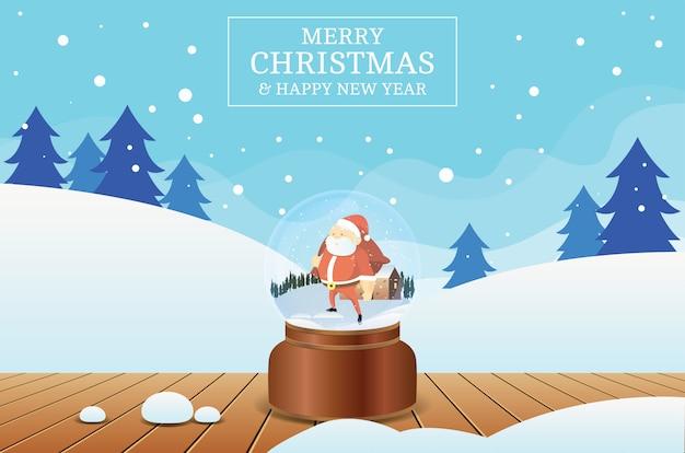 Feliz natal e feliz ano novo com bola de cristal de papai noel e fundo de cenário de inverno