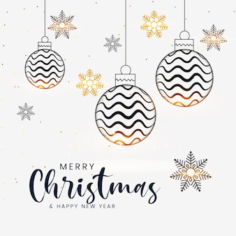 Feliz natal e feliz ano novo com bolas de natal douradas realistas