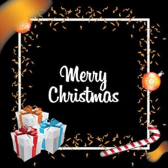 Feliz natal e feliz ano novo com bolas e presentes de caixa