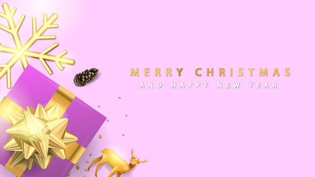 Feliz natal e feliz ano novo com caixa de presente roxa