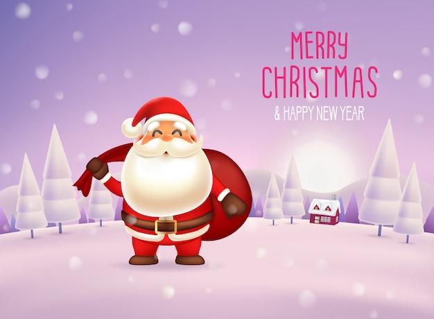 Feliz natal e feliz ano novo com caráter de papai noel na cena de neve