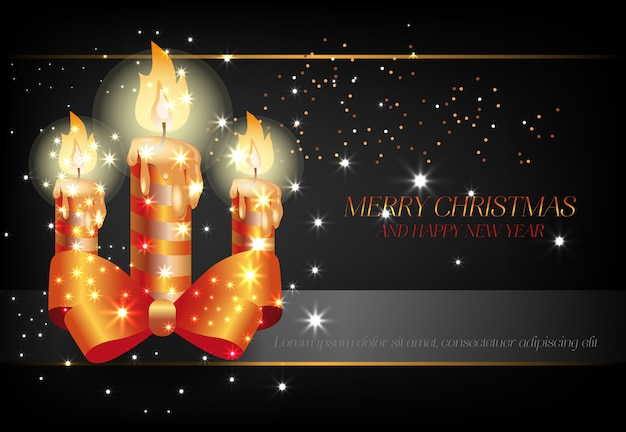 Feliz natal e feliz ano novo com cartaz de velas pretas