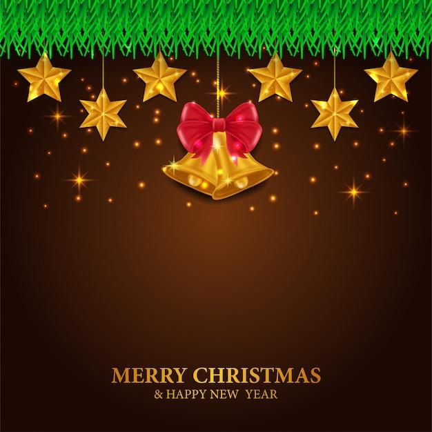 Feliz natal e feliz ano novo com decoração de estrelas e bell