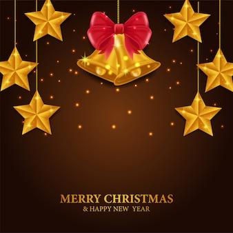 Feliz natal e feliz ano novo com decoração de estrelas