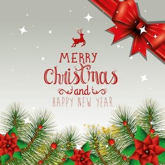 Feliz natal e feliz ano novo com decoração