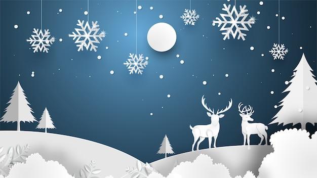 Feliz natal e feliz ano novo com floresta de noite de veados.