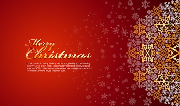Feliz natal e feliz ano novo com fundo vermelho e branco neve e ouro