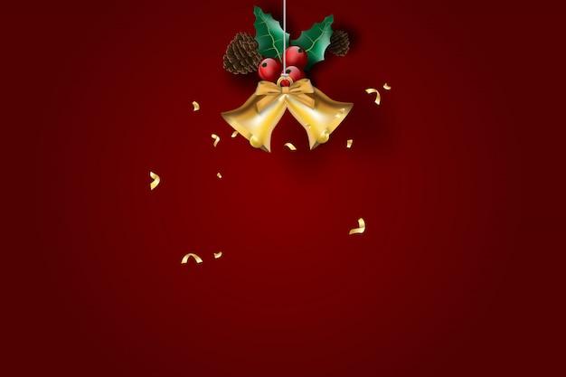 Feliz natal e feliz ano novo com fundo vermelho.