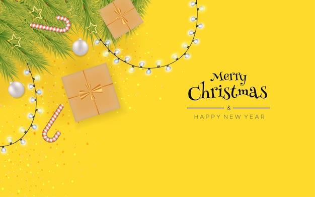 Feliz natal e feliz ano novo com luzes de natal e caixa de presente