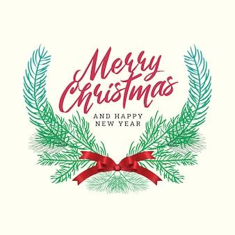 Feliz natal e feliz ano novo com moldura de grinalda