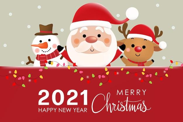 Feliz natal e feliz ano novo com o lindo papai noel, renas e boneco de neve.