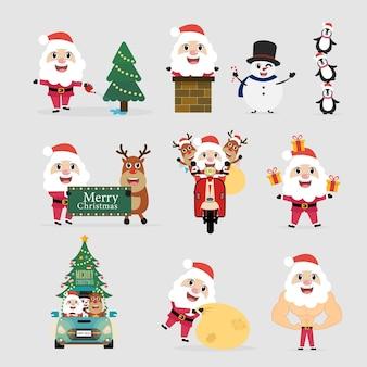 Feliz natal e feliz ano novo com o papai noel e decoração