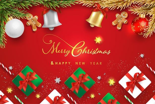 Feliz natal e feliz ano novo com objetos festivos realistas