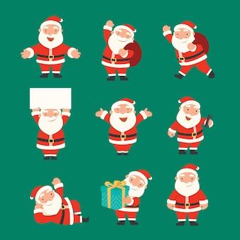Feliz natal e feliz ano novo com papai noel, conjunto de caracteres de papai noel.