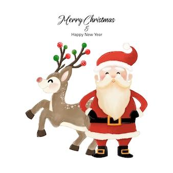 Feliz natal e feliz ano novo com papai noel e renas. desenho aquarela na ilustração de fundo branco