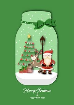 Feliz natal e feliz ano novo com papai noel e renas em pé na garrafa de vidro. desenho aquarela na ilustração de fundo branco