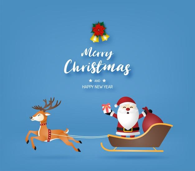 Feliz natal e feliz ano novo com papai noel e renas sobre fundo azul.