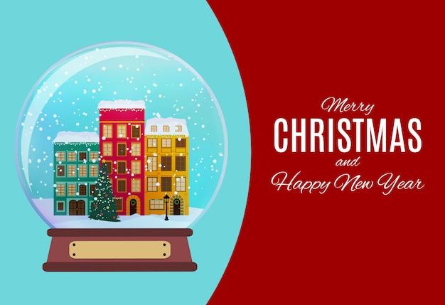 Feliz natal e feliz ano novo com pequena cidade em estilo retro. ilustração