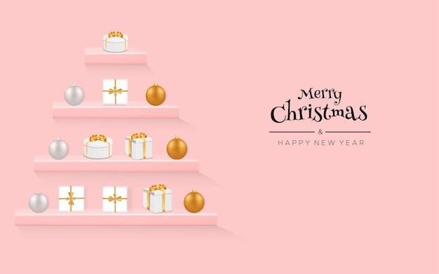Feliz natal e feliz ano novo com prateleiras de parede, caixas de presente e luzes de natal
