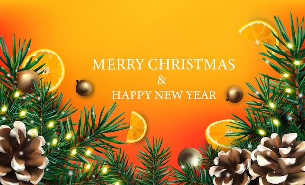 Feliz natal e feliz ano novo com ramos de árvore de natal decorados