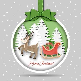 Feliz natal e feliz ano novo com trenó de renas e caixa de presente na selva de neve