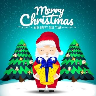 Feliz natal e feliz ano novo com um desenho animado papai noel trazendo presentes