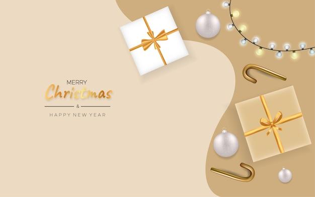 Feliz natal e feliz ano novo com uma caixa de presente